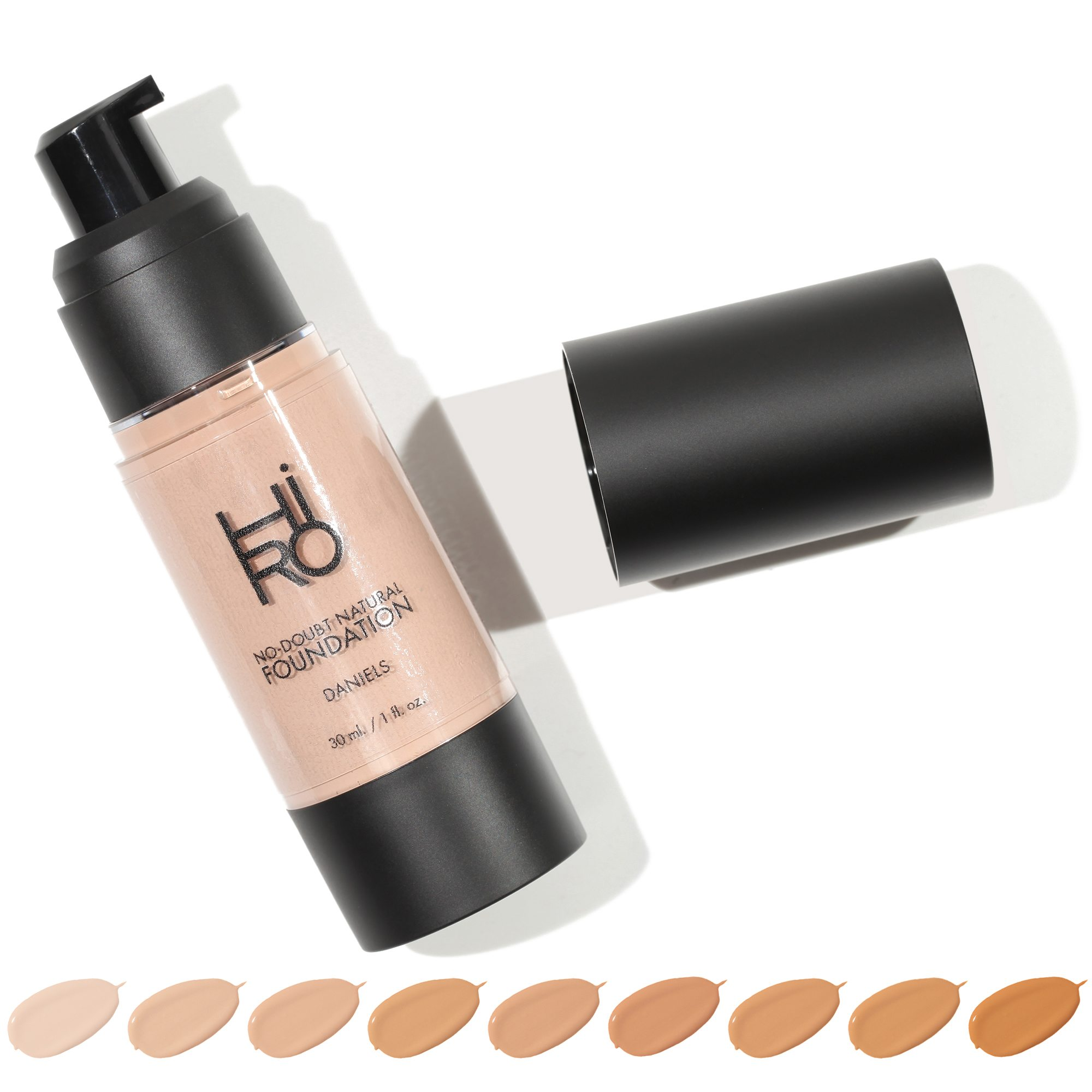 HIRO No Doubt Natural Vegan Organic Foundation with shades